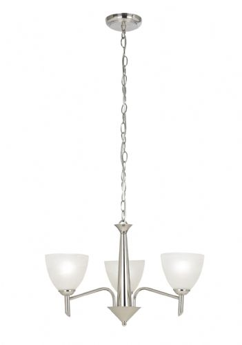 Satin nickel effect plate & alabaster glass Pendant Light NEESON-3SN by Endon